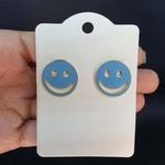 Brinco Folheado Dourado Smile Azul