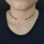 Colar Folheado Dourado Coração Preto
