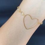 Pulseira Folheada Dourada Coração Branco