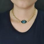 Colar Elos Dourado Olho Grego Preta