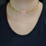Colar Elos Dourado Búzios Esmaltado Rosa