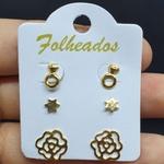 Kit De Brincos Folheados Dourado Rosa