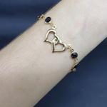 Pulseira Folheada Dourada Coração Preto