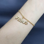Pulseira Folheada Dourada Jesus