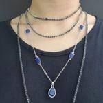 Colar Camadas Gota Prata Azul Marinho