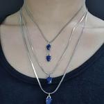 Colar Triplo Prata Gota Azul Marinho