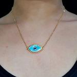 Colar Dourado Olho Grego Azul Claro
