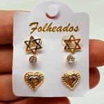 Kit De Brincos Folheados Dourado Estrela De Davi