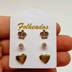 Kit De Brincos Folheados Dourado Coroa