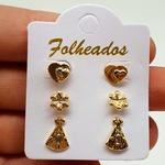 Kit De Brincos Folheados Dourado Nossa Senhora Aparecida