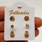 Kit De Brincos Folheados Dourado Caveira