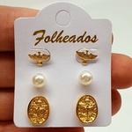 Kit De Brincos Folheados Dourado Religioso