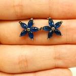 Brinco Semi Joia Ródio Negro Flor Azul Marinho