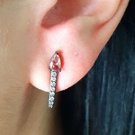 Brinco Ear Hook Semi Joia Ródio Negro Gota Rosê