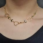 Colar Folheado Dourado Conchas e Coração