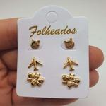 Kit De Brincos Folheados Dourado Abelhinha