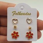 Kit De Brincos Folheados Dourado Flor Vermelha
