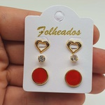 Kit De Brincos Folheados Dourado Disco Vermelho