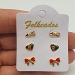 Kit De Brincos Folheados Dourado Laço Vermelho