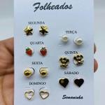 Kit De Brincos Dourados Dias Da Semana Variados 24
