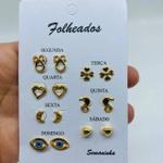 Kit De Brincos Dourados Dias Da Semana Variados 10