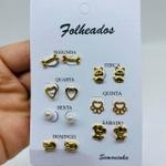 Kit De Brincos Dourados Dias Da Semana Variados 9