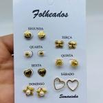 Kit De Brincos Dourados Dias Da Semana Variados 13