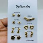 Kit De Brincos Dourados Dias Da Semana Variados 16