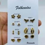 Kit De Brincos Dourados Dias Da Semana Variados 6