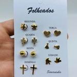 Kit De Brincos Dourados Dias Da Semana Variados 25