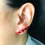 Brinco Ear Cuff Zircônia Gota Dourado Vermelho