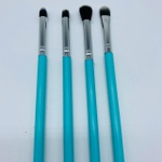 Kit Com 4 Pincéis De Maquiagem Azul