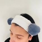 Faixa Atoalhada Para Maquiagem Pelúcia Panda Cinza