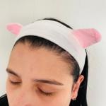 Faixa Atoalhada Para Maquiagem Pelúcia Gatinho Branco