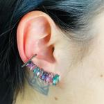 Brinco Ear Cuff Zircônia Navete Grafite Colorido