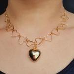 Colar Folheado a Ouro Dourado Coração