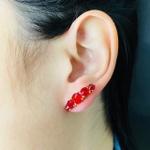 Brinco Ear Cuff Zircônia Dourado Vermelho