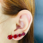 Brinco Ear Cuff Zircônia Prata Vermelho