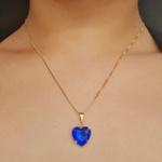 Colar Dourado Coração Azul