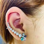 Brinco Ear Cuff Zircônia Borboleta Prata Colorido