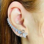 Brinco Ear Cuff Zircônia Laço Prata