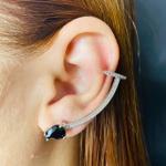 Brinco Ear Cuff Zircônia Gota Prata Preto
