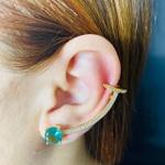Brinco Ear Cuff Zircônia Dourado Acqua