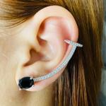 Brinco Ear Cuff Zircônia Oval Prata Preto
