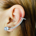 Brinco Ear Cuff Zircônia Oval Prata Branco