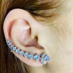 Brinco Ear Cuff Zircônia Ramos Prata Branco