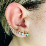 Brinco Ear Cuff Zircônia Ramos Dourado Colorido
