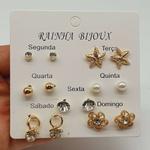 Kit De Brincos Dias Da Semana Dourado Flor