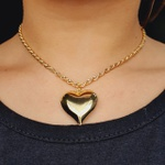 Colar Folheado a Ouro Baiana Coração