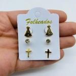Kit De Brincos Folheados a Ouro Nossa Senhora Aparecida